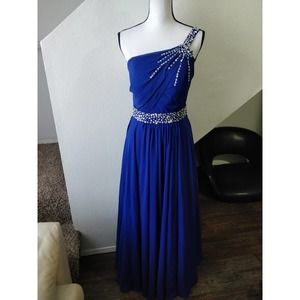 JJ's House Royal Blue Beaded One Shoulder Gown S
